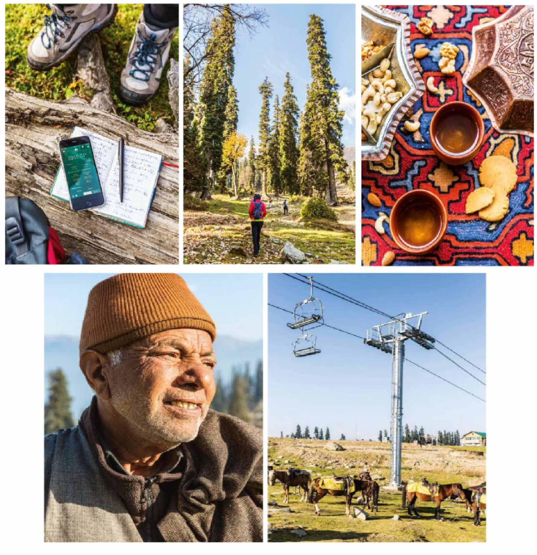 Clockwise from top left: checking the altitude on the hike; leaving the campsite; tea with biscuits and nuts at The Khyber Himalayan Resort & Spa; horses wait for tourists below the gondola; a local on the mountain. Previous pages: the view down Drung Valley on the hike up the mountain