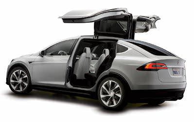 MODEL X Release date: September 2015. Price: $90,000 (est.) Its first crossover SUV has gull-wing doors for better third-row access.
