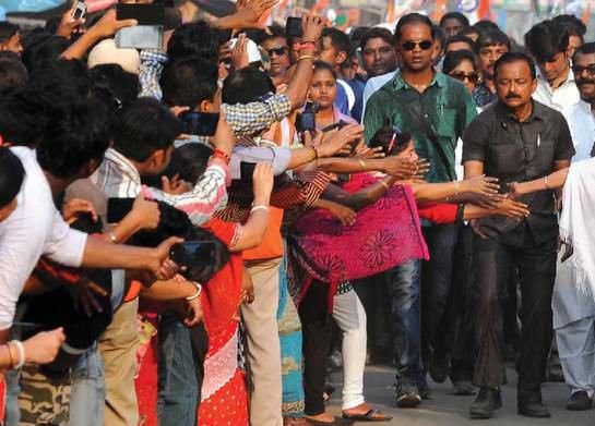 Mass Didi Mamata Banerjee and TMC colleagues at an election rally in Bankura.