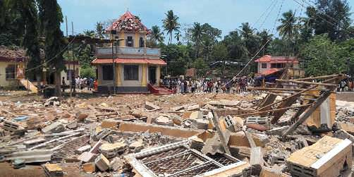 Ground zero After the blast in the Puttingal Devi Temple in Paravur.