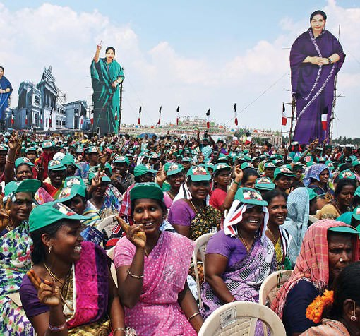 ladies special Women came out in force to listen to Jayalalithaa at her public meeting in Virudhachalam on 11 April