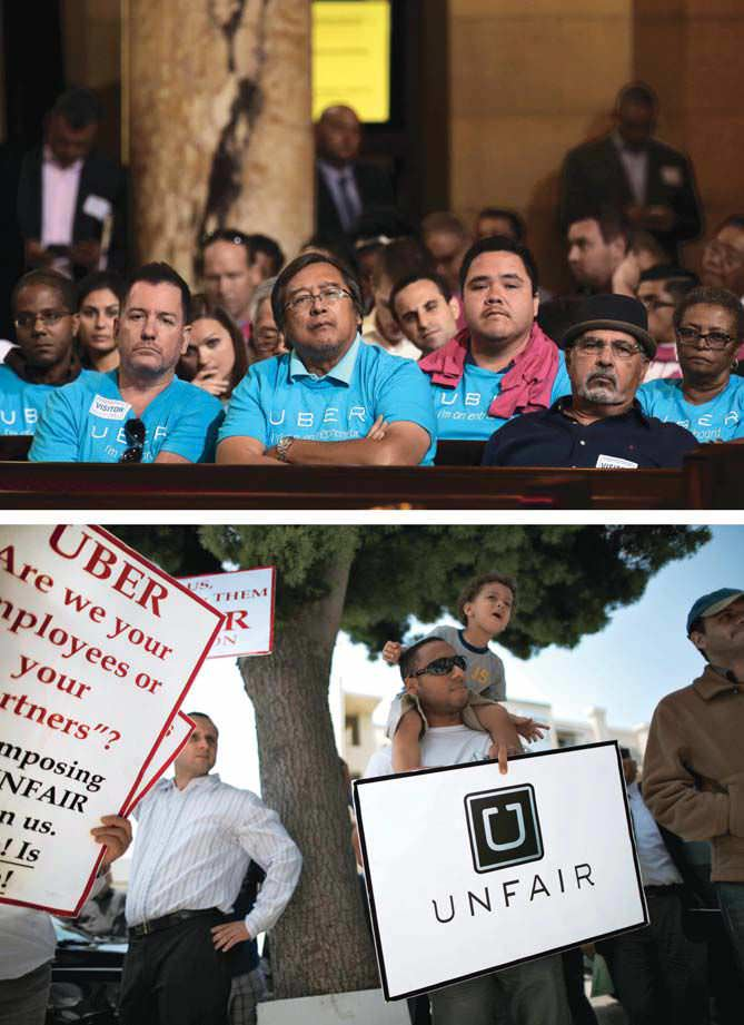 UBERS DRIVERSFRIEND AND FOE Theyre the companys biggest fans (top, supporting Uber at an L.A. city council hearing), but they could also be its undoing as more of them seek recognition as employees (bottom, at a June 2014 protest in Santa Monica, California).