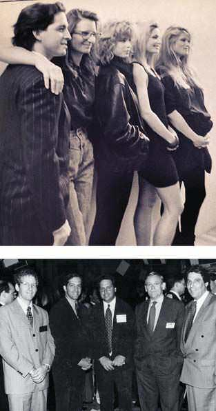 Top: Cole, a longtime fixture on the fashion scene, at the Future of Our Children charity event in 1985 with (left to right) photographer Annie Leibovitz and models Julianne Phillips, Kelly Emburg, and Christie Brinkley. Below: At the New York Stock Exchange on June 3, 1994, when he took Kenneth Cole Productions public.