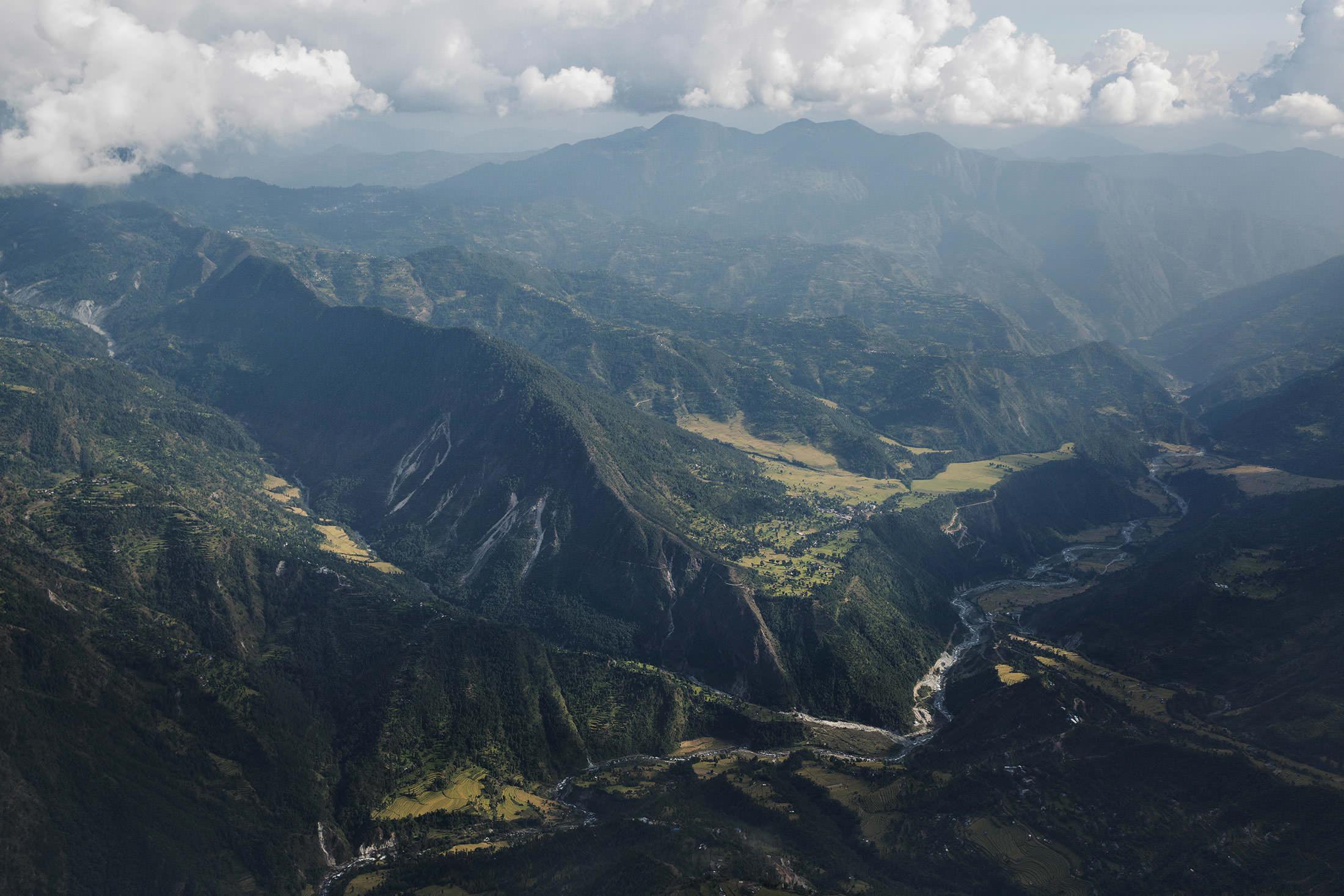 The Hongku River valley, looking toward the mountains of Solukhumbu.
