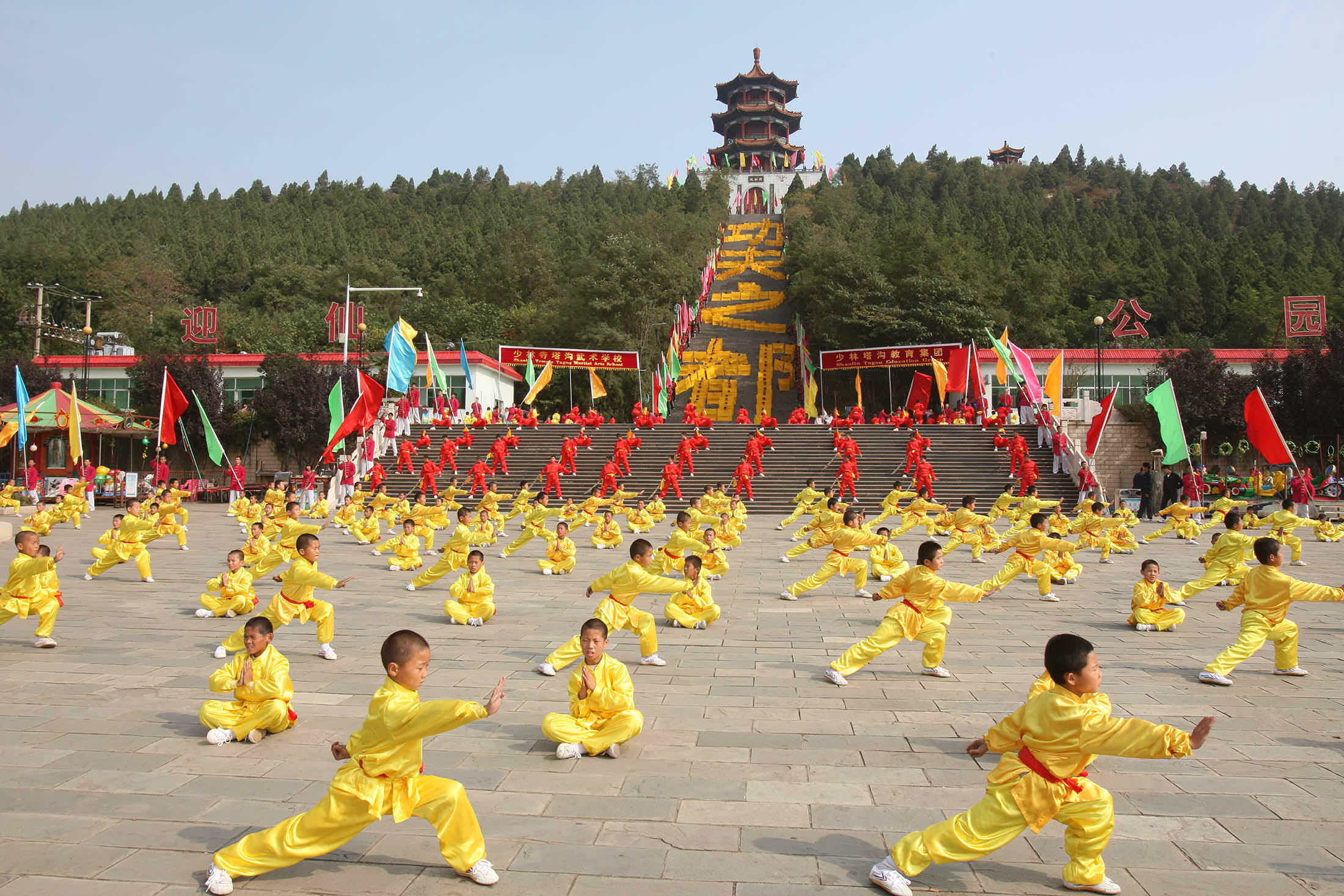 Kung fu students practicing in Shaolin