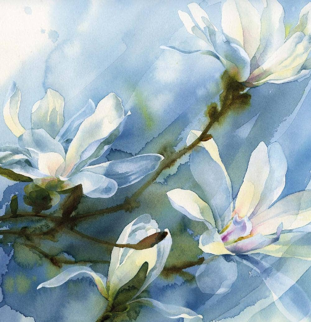 WHITE FLOWERS IN watercolour