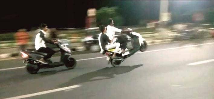 Youth On Bikes Drive Rashly, Perform Stunts Near Marina