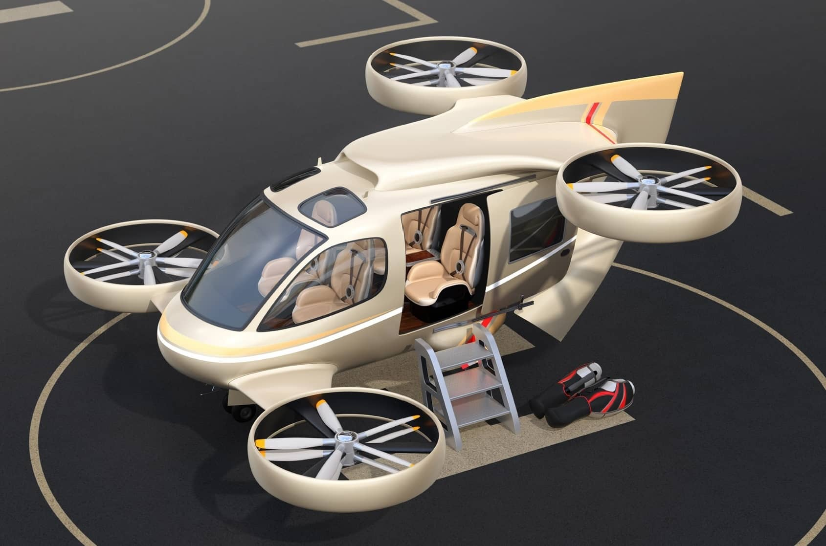 Metallic golden flying car (air taxi) parked on a Drone Port 3D rendering image
