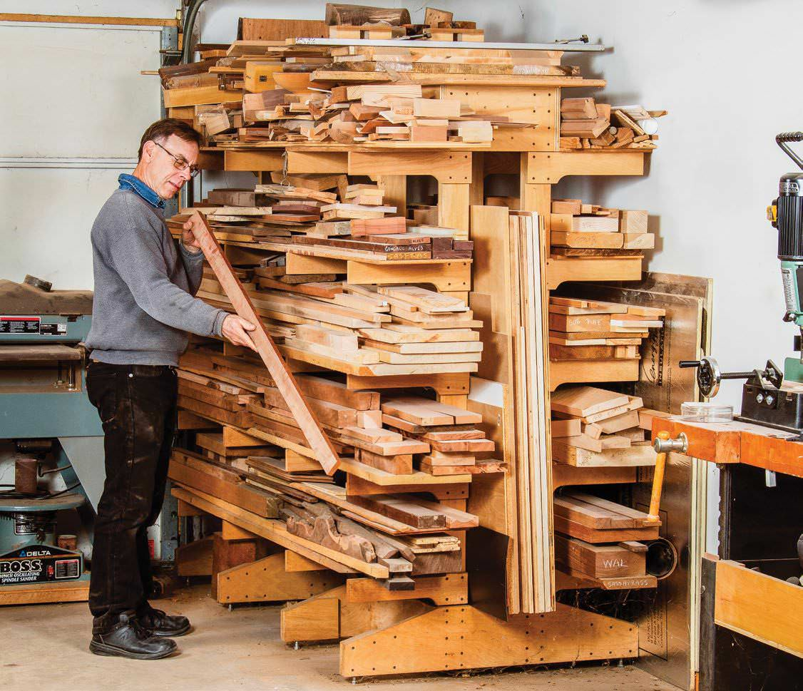 wall shelf ideas for garage - Freestanding Lumber Rack