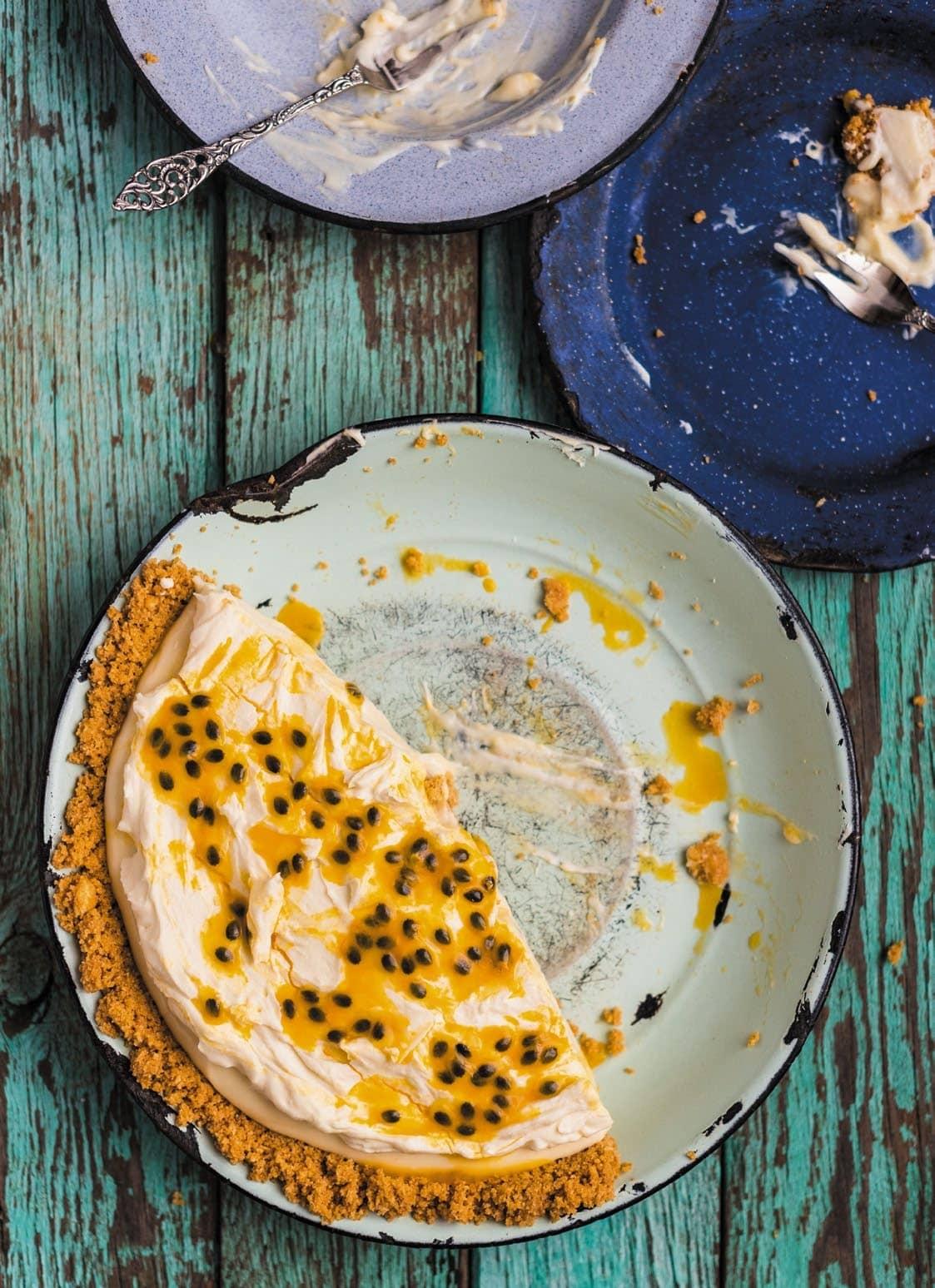 Granadilla Fridge Tart With White Chocolate Ganache