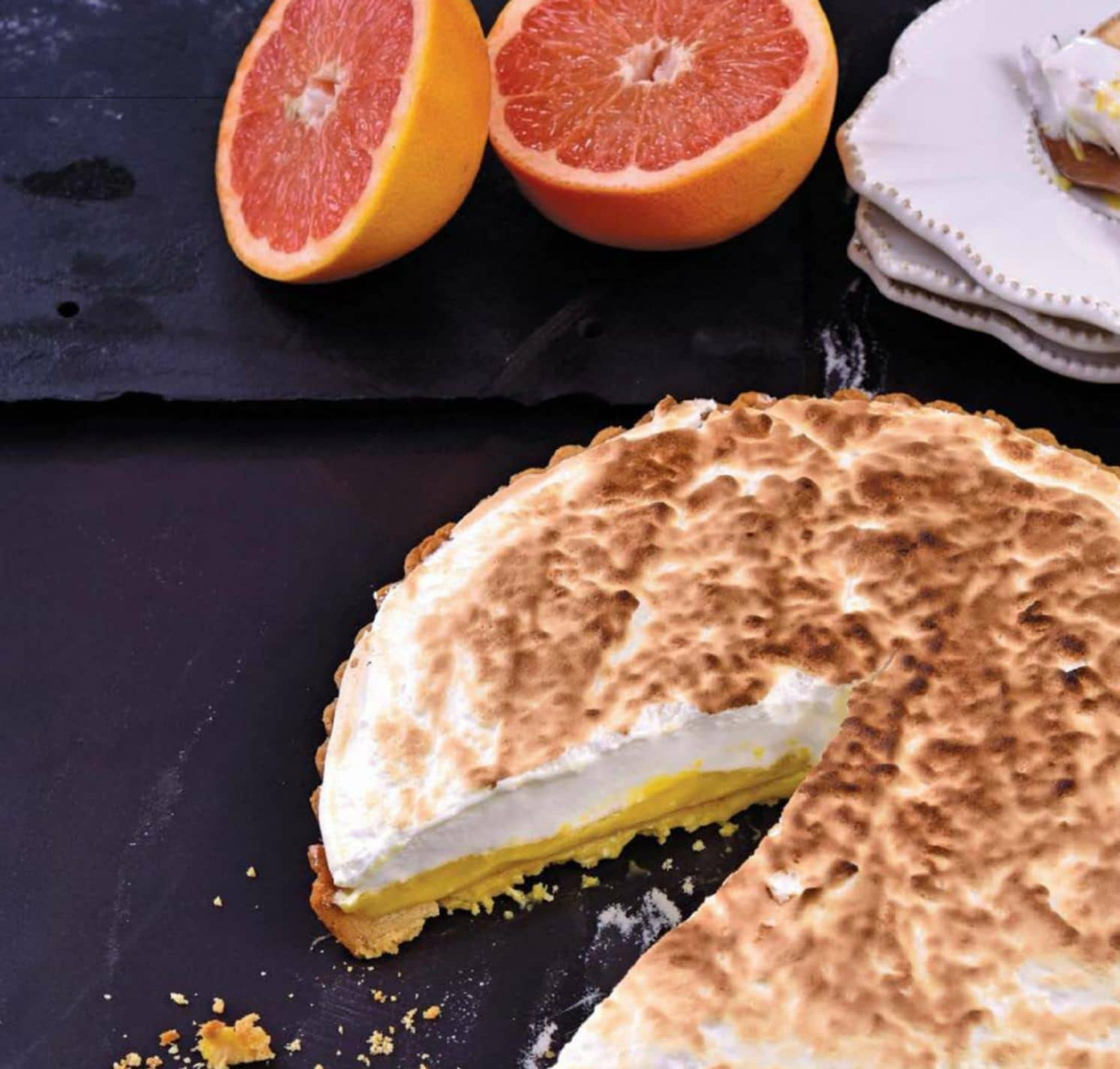 Grapefruit Curd And Meringue Tart