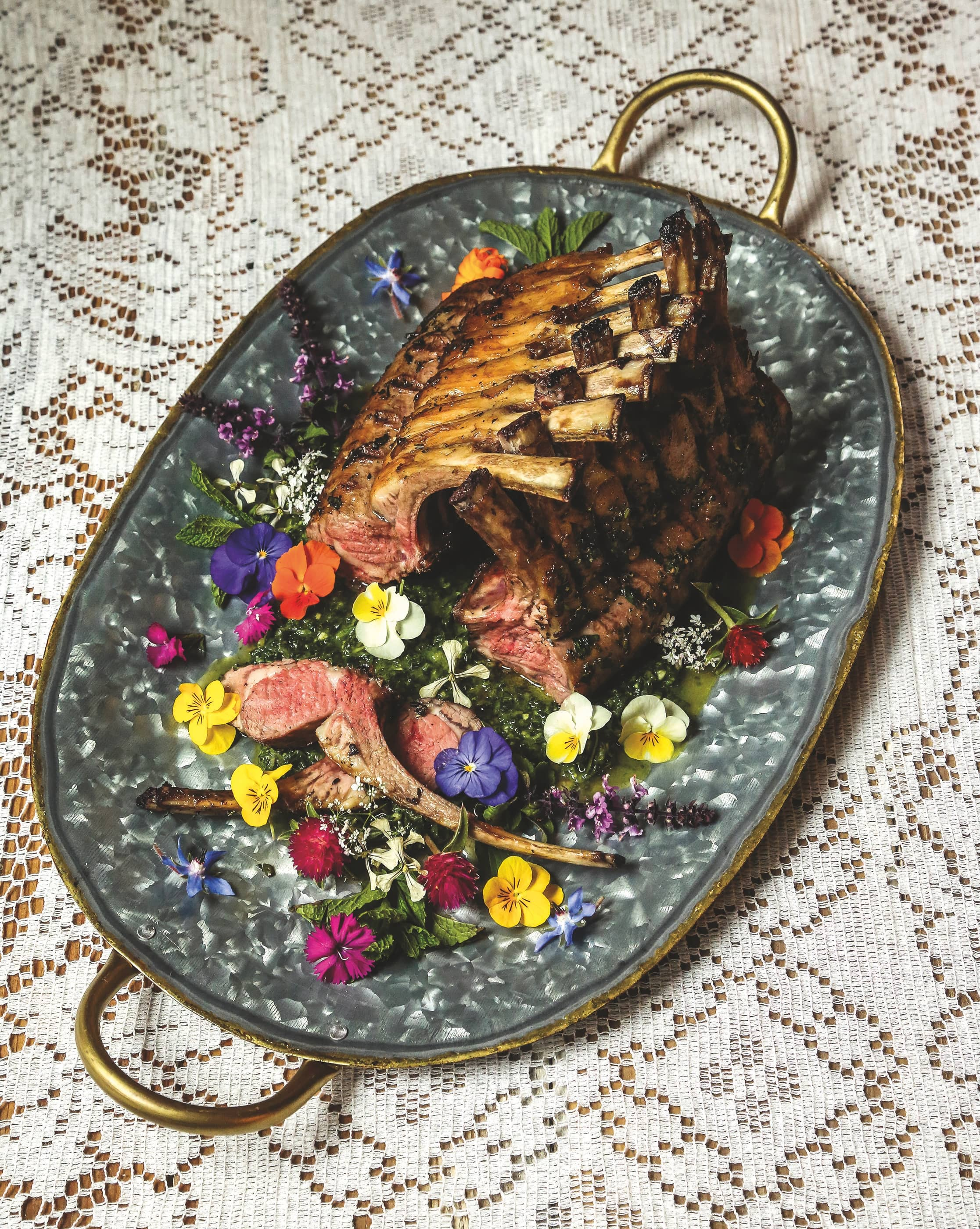 RACK OF LAMB WITH MINT CHIMICHURRI AND EDIBLE FLOWERS