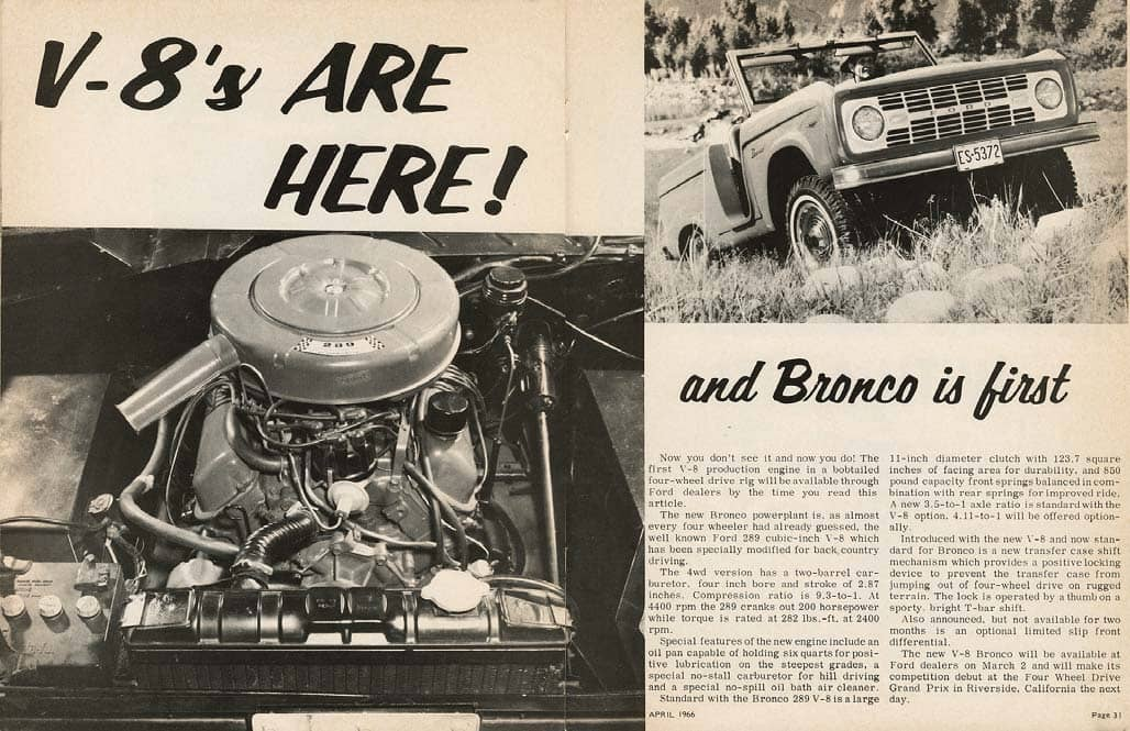 1966 Bronco gets its first V-8: Power for Ford's G.O.A.T. vehicle then and now