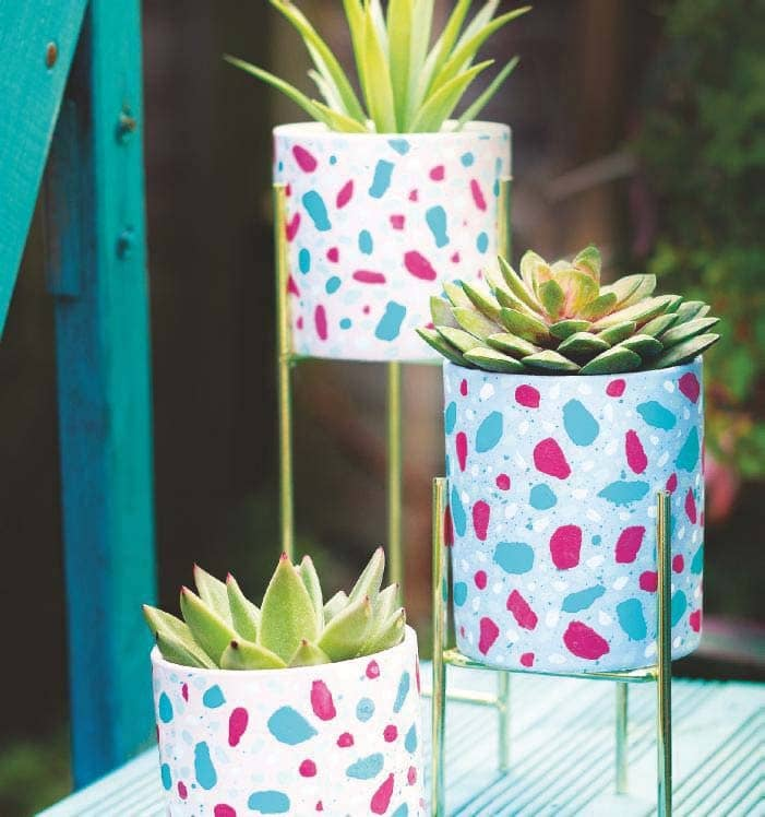 Paint bright and colourful TERRAZZO PLANTERS