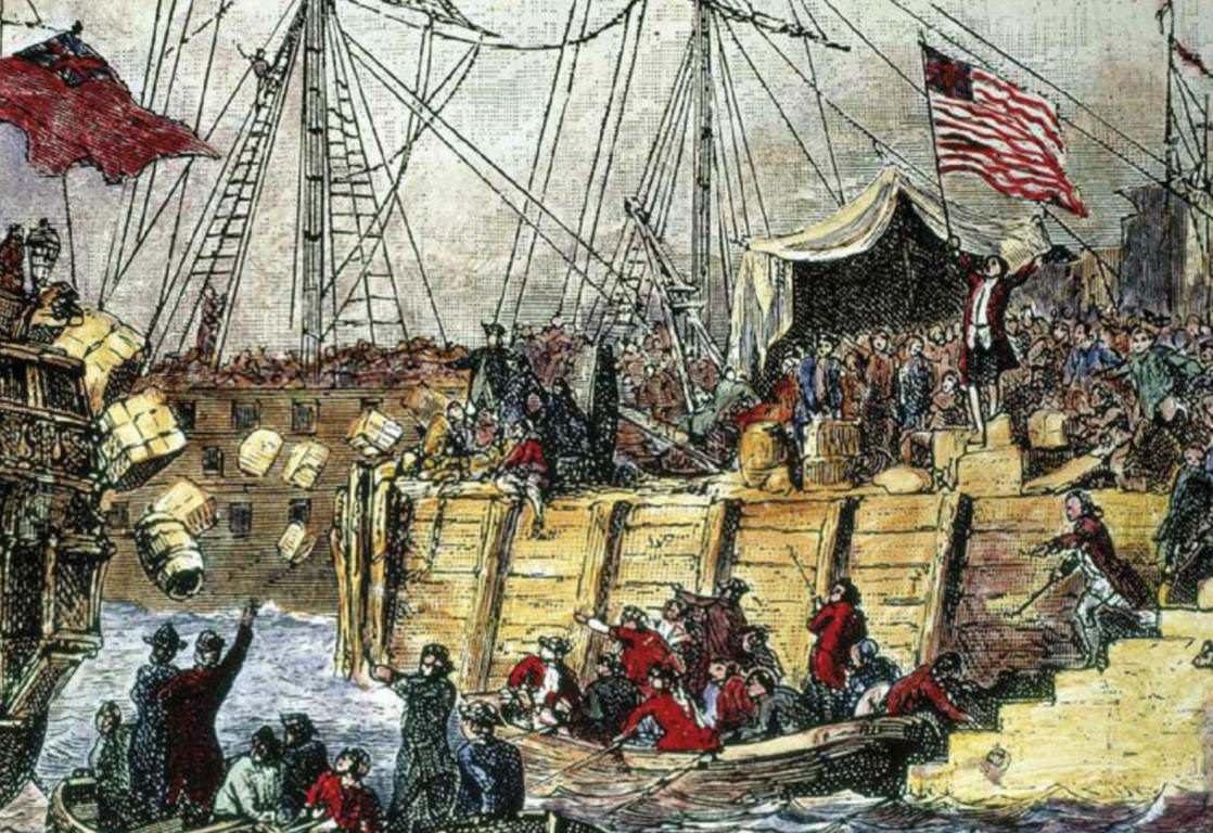Boston Rebels Dump Tea Into The Sea